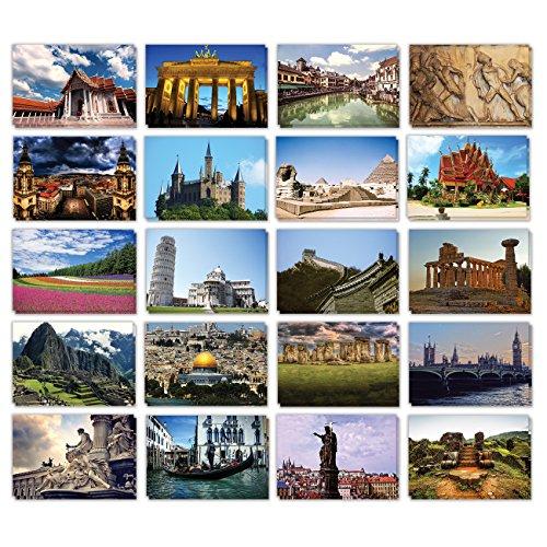 Reise-Postkarten aus aller Welt, 20 verschiedene Motive, 10 x 15 cm, 40 Stück