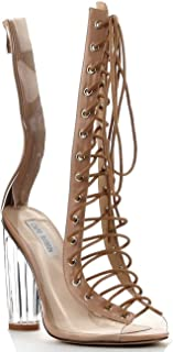 Bailey-1 Open Toe Block Chunky Clear Perspex Heel Lace Up Ankle Boot Bootie Nude