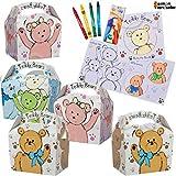 German-Trendseller® - 8 x boîtes de Nounours ┃+ 8 Livres à colorier + 8 Crayons Gras┃ Party Box ┃ avec poignée pour remplir┃l'anniversaire d'enfant