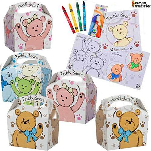 German Trendseller® - 8 x Teddy Bär Mitgebsel Boxen + 8 Malbücher + Stifte zum ausmalen ┃ Party Boxen mit Griff zum Befüllen ┃ Kindergeburtstag