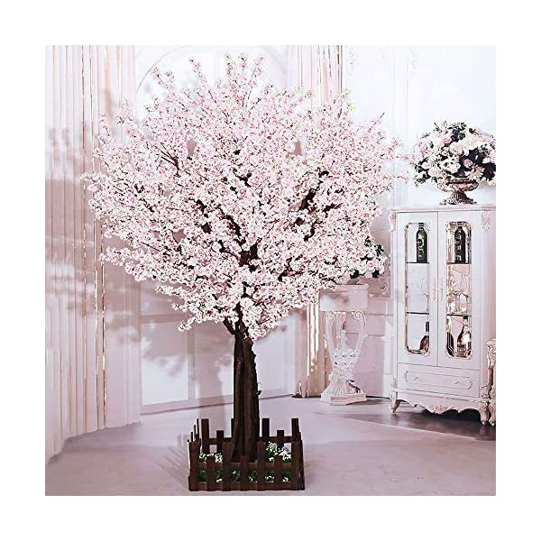 J-beauty White Artificial Cherry Blossom Tree Artificial Plant for Wedding Event Indoor Outdoor Party Restaurant Mall Silk Flower (6ft T)