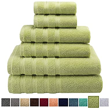 Premium, Luxury Hotel & Spa Quality, 6 Piece Kitchen and Bathroom Turkish Towel Set, 100% Genuine Cotton for Maximum Softness and Absorbency by American Soft Linen, [Worth $72.95] (Pistachio Green)
