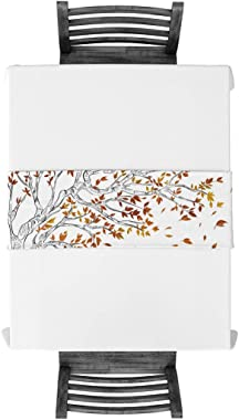 PIEPLE Cotton Linen Table Runner Baby-Shower, Autumn Theme Yellow Fall Leaves Rectangle Tabletop and Dresser Scarves for Wedd