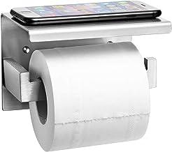 Auxmir Toiletpapierhouder met Plank zonder Boren, Roestvrij Staal, Zelfklevend of Wandmontage voor Badkamer, Toilet, Keuke...