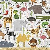 Lunarable Safari-Stoff von The Yard, Cartoon-Stil,