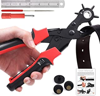 Leather Hole Punch Tool Set, Belt Hole Puncher Kit, Professional Puncher for Belt, Saddle, Dog Collars, Watch Strap, Shoe,...