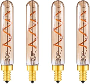 Dimmable T6 LED Bulbs E12 Candelabra Base, 3W 2200K 300LM Amber Glass Tube Edison Light Bulbs, 30W Incandescent Bulbs Equivalent, Filament Decorative Bulb for Home, 4 Pack(Warm White)