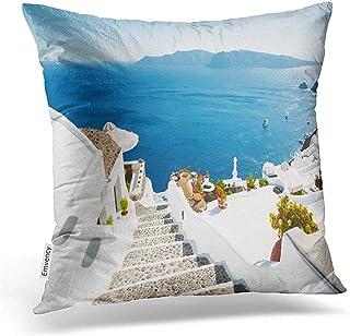 Leisure-Time Funda de Almohada de Tiro Arquitectura Blanca en la Isla de Santorini Grecia Fundas de Almohada Hermosas Decoraciones