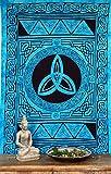 GURU SHOP Boho-Style Wandbehang, Indische Tagesdecke - Keltischer Knoten/Türkis, Blau, Baumwolle, 190x140 cm, Bettüberwurf, Sofa Überwurf