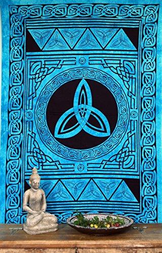 Guru-Shop Indisches Wandtuch, Batik Tagesdecke - Keltischer Knoten/Türkis, Blau, Baumwolle, 190x140 cm, Bettüberwurf, Sofa Überwurf