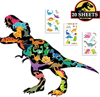 Ooopsi 20 Sheets Dinosaur Temporary Tattoos for Kids Boys Birthday Party - Dinosaur Party Supplies Great Children Party Favors, 250 Tattoos