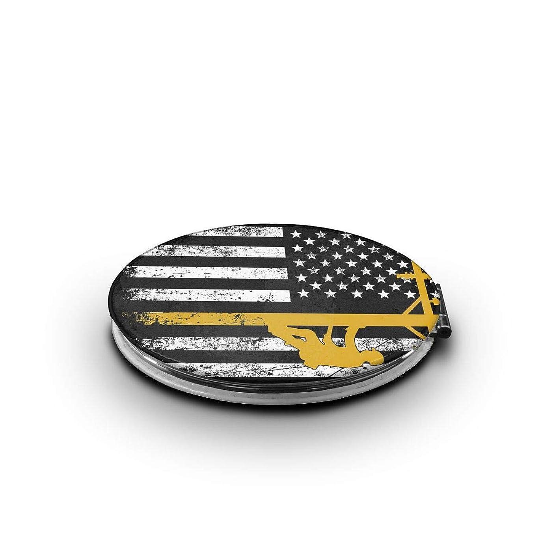 フォーマットサスティーンスタジオ携帯ミラー アメリカ 米国 旗 黒いミニ化粧鏡 化粧鏡 3倍拡大鏡+等倍鏡 両面化粧鏡 楕円形 携帯型 折り畳み式 コンパクト鏡 外出に 持ち運び便利 超軽量 おしゃれ 9.0X6.6CM