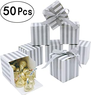 Silver Party Favors Treat Boxes - Candy Treat Boxes Bulk Small Silver Stripes Gift Box for Bachelorette Wedding Engagement Bridal Shower Party Baby Shower Birthday Party Favors Boxes Supplies, 2x2x2 inch, 50pc
