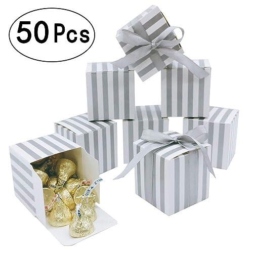 100 ~ Wedding Bridal Baby Shower Birthday Supplies SILVER MINI FAVOR BOXES