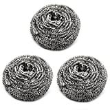 Hometeq (3 Pack) 3'/25gram Stainless Steel Scourer Sponges Scrubbers for Kitchens, Bathroom and More (A)