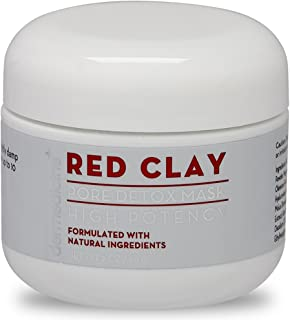 Natural Red Clay Pore Detox Mask for Face | Purifying w/Aloe & Botanical Plant Extracts | Clearer, Smoother, Brighter & More Youthful Complexion | Oil Control Rinse Off Mask | 2 oz / 60 g