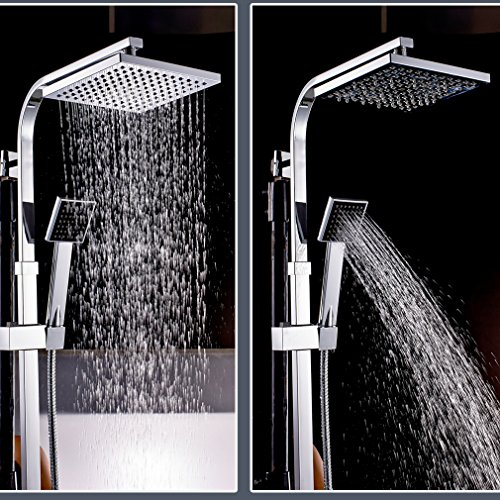 Auralum – Thermostat-Duscharmatur, Duschsystem mit Brausethermostat und Regendusche, Chrom - 5