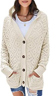 Women's Casual Cable Knit Cardigan Button Down Sweater Hoodie Coat