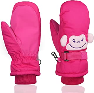 Kids Ski Gloves Snow Outdoor Winter Sports For Snowboarding,Kids Cute Skiing Gloves Mittens Momoon (S(suitable for 4-6years), Pink)