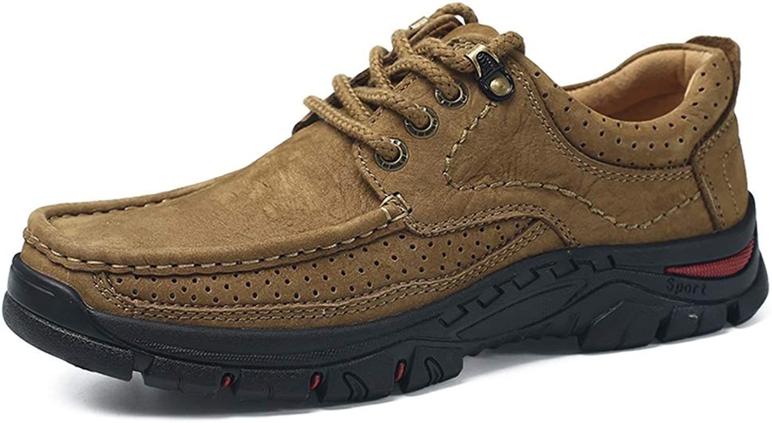 Fashion Sneakers for Men Walking Hiking shoes Lace Up Casual Slip On Round Toe Anti-Slip Leather Upper Outdoor Trekking shoes Wear Resistant (color   Khaki-Lace Up, Size   9.5 D(M) US)