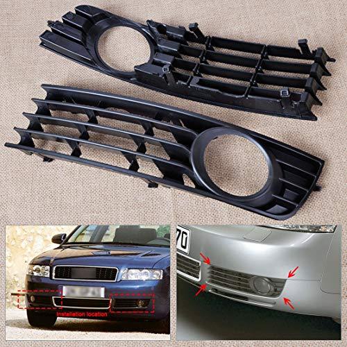 QAZX Coche Niebla Luz Grilles 2pcs Parrilla Frontal L Y R Insertar Parachoques Niebla Luz De Rejilla De Malla Protectora Fit For Audi A4 B6 2002 2003-2005 (Color : Black a Pair)
