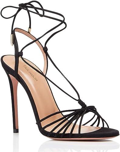 mujer zapatos de Tacón Moda Sandalias Escarpín Cordones Correa de Tobillo Tacón de Aguja Alto negro Talla 35-46