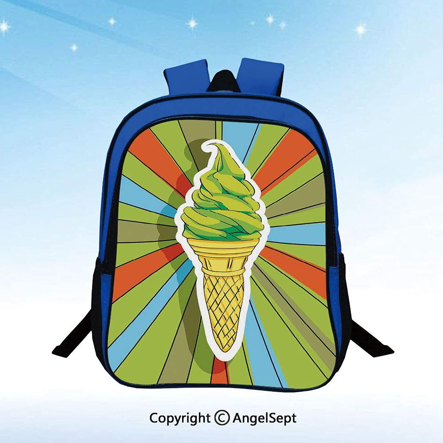 Children's Kids Backpack Cute Kindergarten Bag Hand Drawn Ice Cream on Cone with Colorful Rays Coming out from the Middle Decorative Lightweight Waterproof School Boy Girl Snack Pack Lime Green Multi