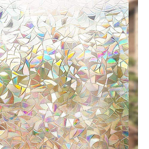 rabbitgoo Pellicola per Finestre Vetri 3D Geometria Decorativa Autoadesive Anti-UV Pellicola Privacy Controllo di Calore 44.5cm x 200cm con Effetto Rainbow Colorate per Bagno Casa Cucina Ufficio