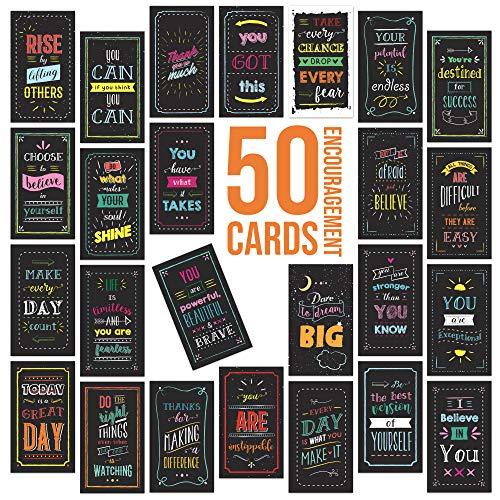 Uplifting Motivational Inspirational Cards - 50 Cards for Appreciation Gratitude and Encouragement - Business Card Size
