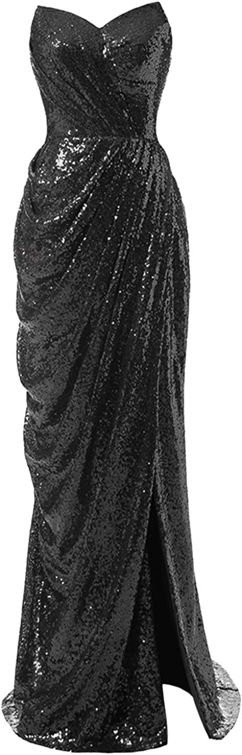 Womens Strapless Mermaid Prom Dress 2020 Long Slit Sequin Evening Formal Gown
