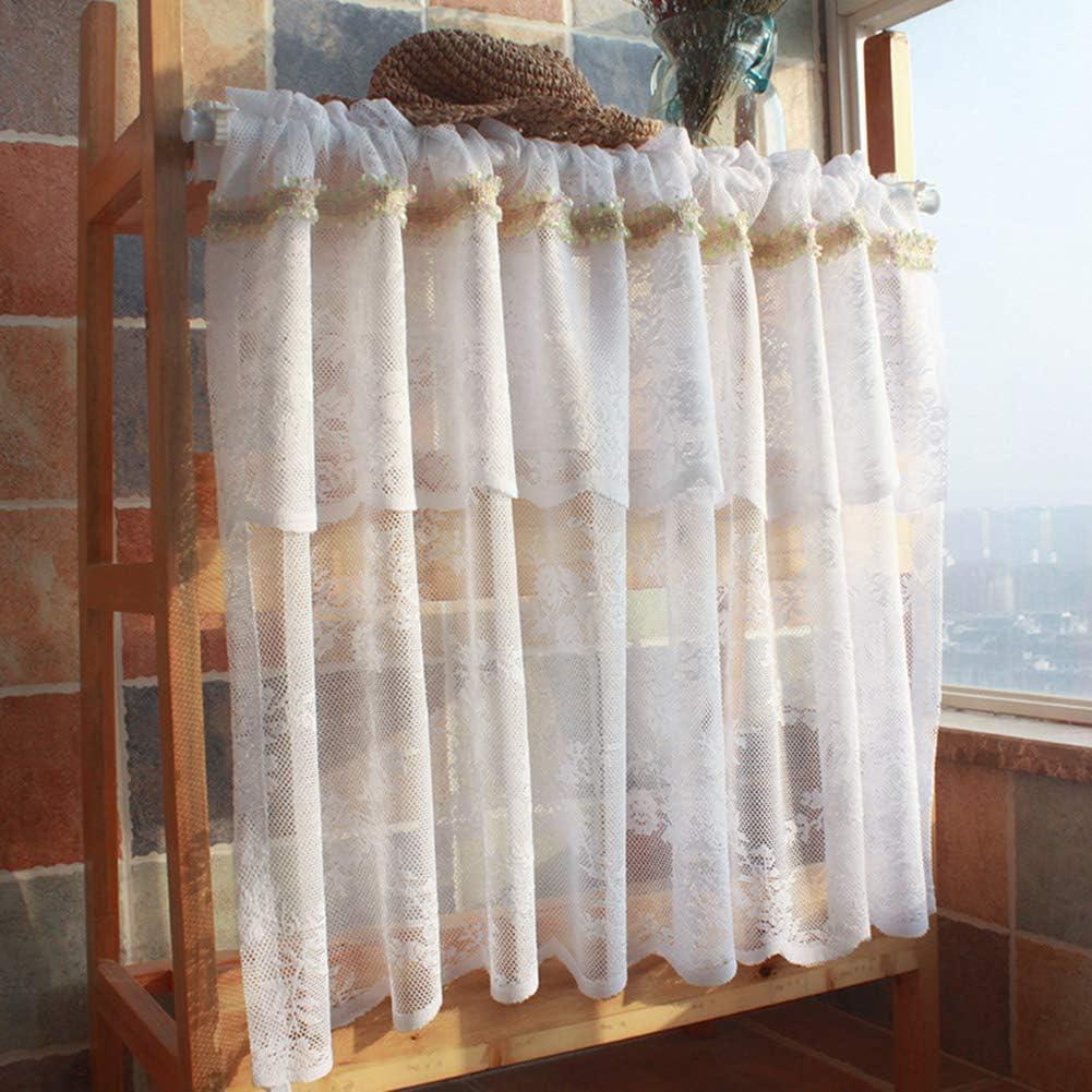 Reservation LDJ Tier Curtain- White Sheer Half Val Curtains Window store Bathroom