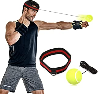 SGODDE Boxing Reflex Ball Reflex Punch Ball with Headband,Boxing Speed Ball for MMA Training,Boxing Punch Exercise, Training Speed Reactions,Fitness-Boxing Gym Equipment for Adult/Kids Yellow