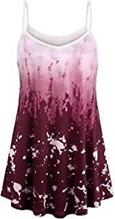 Foowni Womens V Neck Sleeveless Shirt A Line Curved Hem Tie Dye Casual Vest Top Blouse