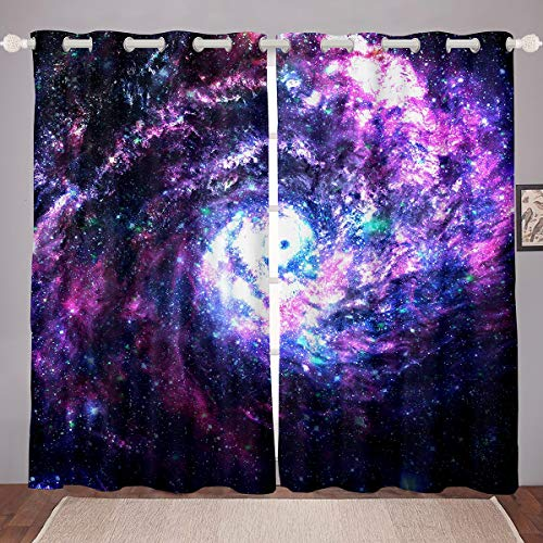 Feelyou Galaxy Outer Space Thermal Insulated Curtains for Bedroom Purple Starry Sky Nebula Room Darkening Curtains Universe Astronomy Window Drapes Home Decor Window Treatments 42' X 63',2 Panel Set