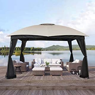 CHARMELEON Patio Gazebo 10x10, Outdoor Gazebo with Black Netting Sidewalls Arc Leg Gazebo Canopy Shelter with Double Vent ...