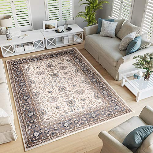 Tapiso Colorado Alfombra de Salón Comedor Dormitorio Diseño Clásico Vintage Crema Gris Beige Floral Borde 200 x 300 cm