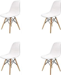 GrandCA Home Ensemble de 4 chaises, Design Bois Chaise de Salle à Manger, Chaise de Bureau, Chaise de Salon (Blanc-4)