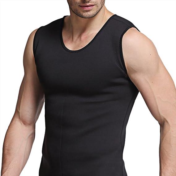 Hothot Camiseta de adelgazamiento para hombre, produce calor al hacer ejercicio para sudar y estrechar la cintura y perder peso, efecto sauna, sin ...