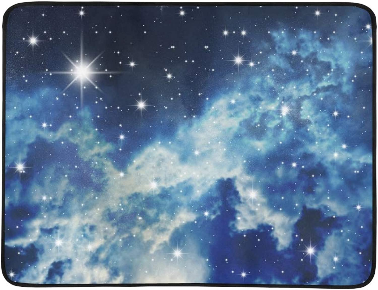 Big Starry Congestion On Night Sky Portable and Foldable Blanket Mat 60x78 Inch Handy Mat for Camping Picnic Beach Indoor Outdoor Travel