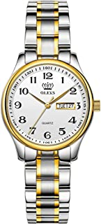 Women Mens Watches Analog Large Easy Reader Watches Gold Silver Tone Stainless Steel Band...