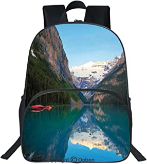 Oobon Kids Toddler School Waterproof 3D Cartoon Backpack, Lake Louise with a Red Canoe Banff National Park Canada Wilderness Nature Picture, Fits 14 Inch Laptop