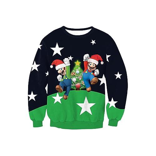 Ugly Christmas Sweater Cartoon.Cartoon Ugly Christmas Sweater Amazon Com