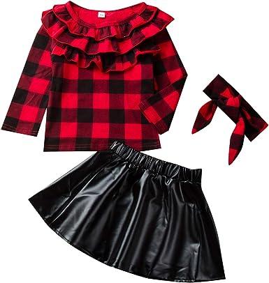 DaMohony, Conjunto de Falda para niñas y bebés recién Nacidos, Camisa a Cuadros + Falda de Cuero + Diadema, 3 Piezas, Conjunto de Ropa para niños de 1 ...