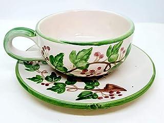 Tazza + Piatto Linea Edere Realizzata e dipinta a mano Le Ceramiche del Castello Made in Italy dimensioni 16,5 x 7 centimetri