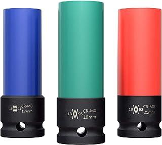 Krafthylsa, plastmantlad, 3 delar för aluminiumfälgar 17 mm 19 mm 21 mm för skruv-/mutterdragare I Krafthylssats I Plastma...