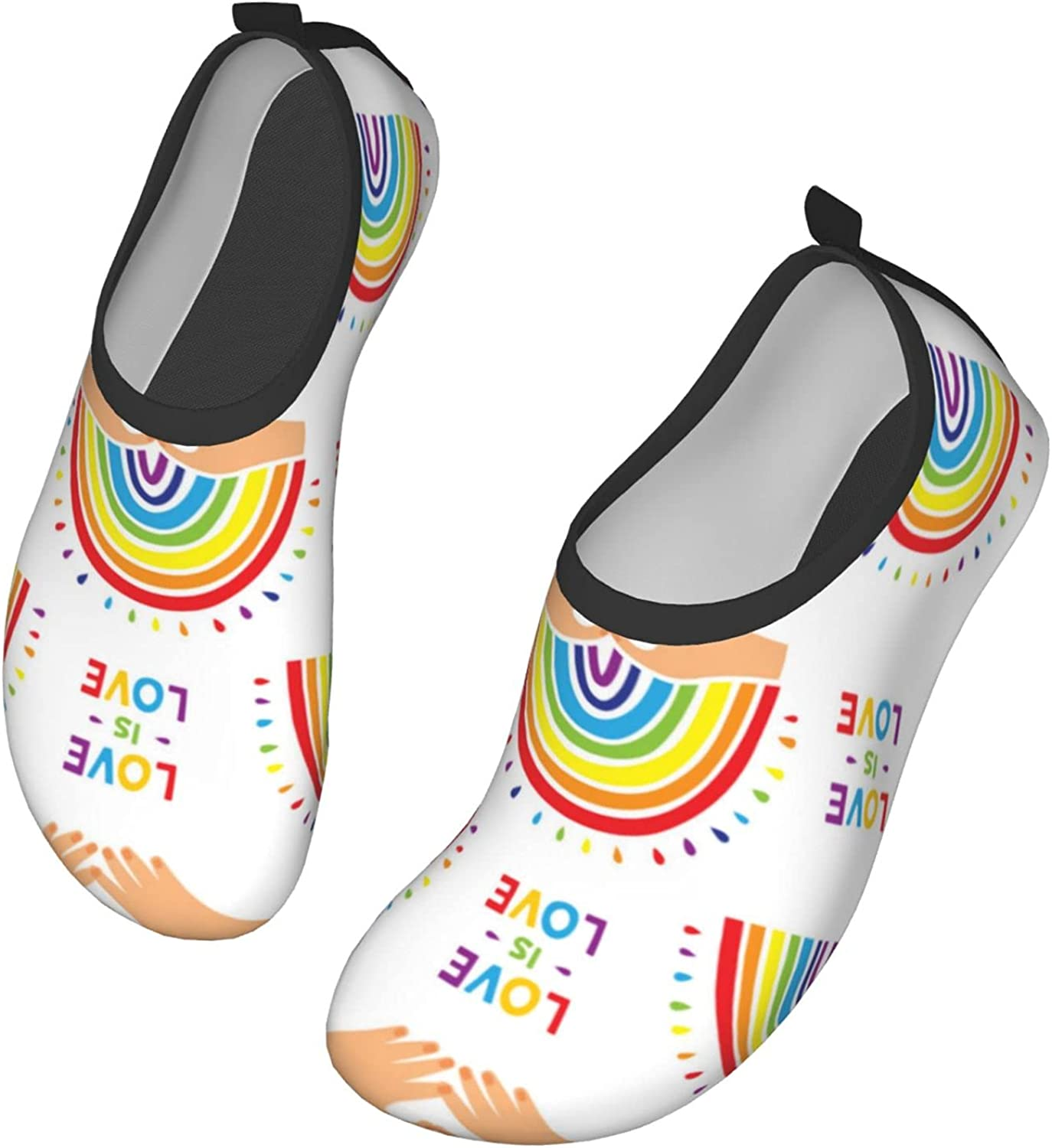 Love is Love Rainbow Water Shoes Women's Men's Outdoor Beach Swimming Aqua Socks Quick-Dry Barefoot Shoes Surfing Yoga Pool Exercise
