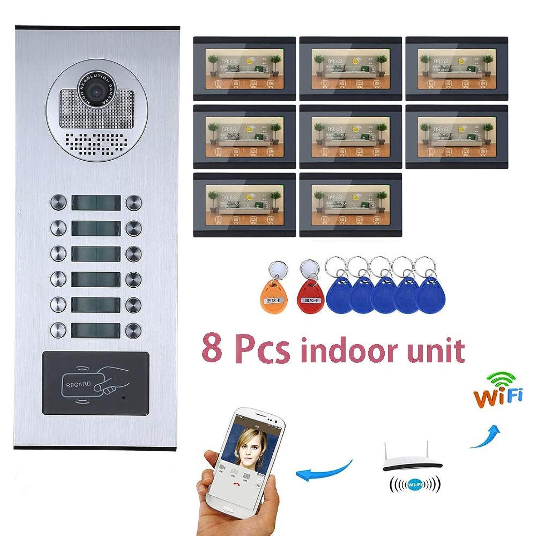 JJML-G Apartment Visible Doorbell Kit 7'' HD Display 8 Indoor Units 1000TVL Waterproof Camera Home Doorbell Video Intercom System Support Monitoring, Unlocking, Two-Way Intercom