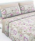 CASANOV'è - Juego completo de sábanas de franela 100 % algodón - Art Paradise Dis Romantic