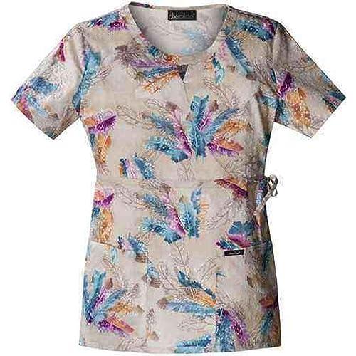 4375ba84777 Runway 3824 Women's Mock Wrap Print Scrub Top