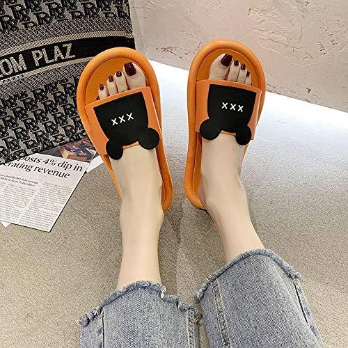 TDYSDYN Zapatillas de Masaje para Mujer,Zapatillas de baño para el hogar, Bonitas Zapatillas con Fondo suave-2- Naranja_44-45